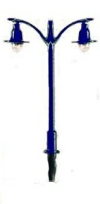 Double Electric Street/Platform Lamp - blue